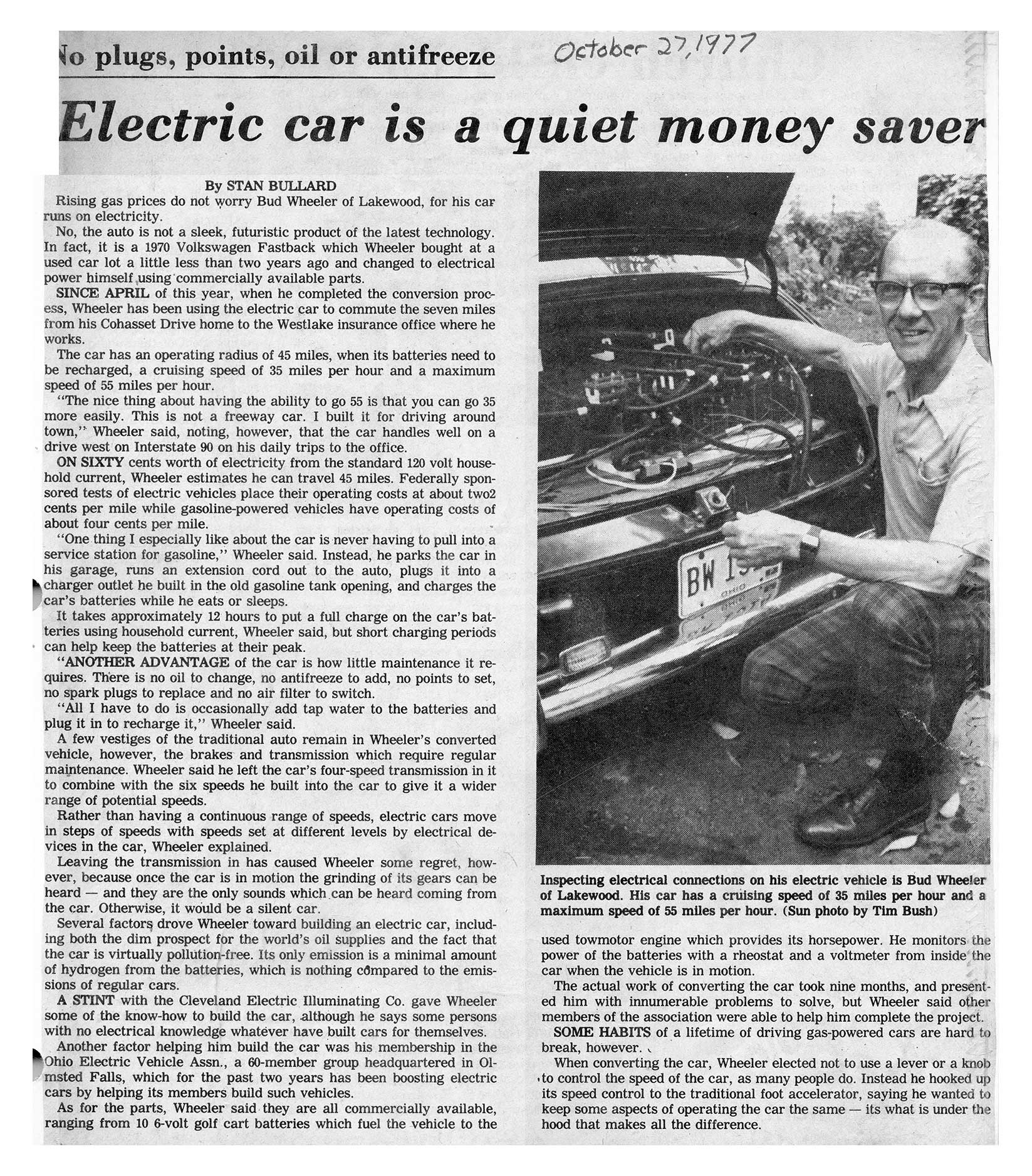 Plain Dealer Profile of Bud Wheeler's Electric Car