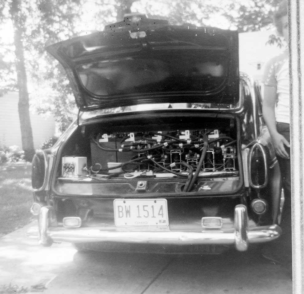 Rear battery bank in Bud Wheeler's Electric Car.