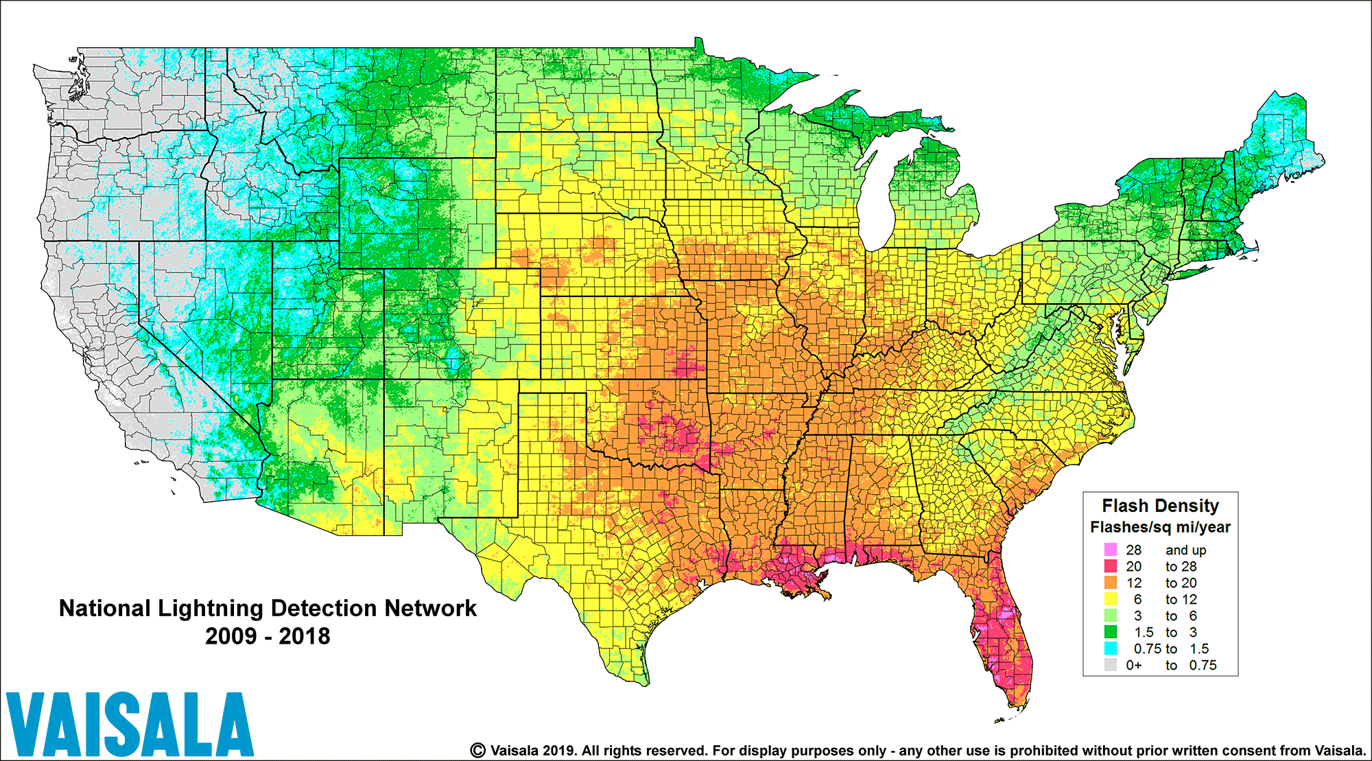 lightning density in the U.S.A.